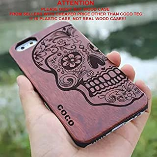 iPhone 6s plus Case,CoCo Laser Carving Marked Wood Case wooden Case Cover with Durable Polycarbonate Bumper Slim Covering Case for Apple iPhone 6s plus iPhone 6 plus(5.5 inch) (Skull-wood)