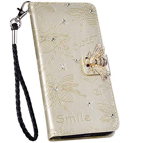 Ysimee kompatibel mit Xiaomi Redmi Note 8 Pro Hülle - Glitzer Diamant Handyhülle - Bookstyle PU Leder Schutzhülle Wallet Flip Ledertasche Case Hülle Schale [Standfunktion] [Kartenfach], Gold