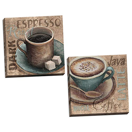 Gango Home Decor Popular Classic Coffee Espresso Java Dark Roast Signs; Kitchen Décor; Two 12x12in Stretched Canvases; Ready to Hang! Teal/Brown