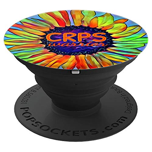 CRPS Awareness Fire Orange Sunflower Warrior RSD Survivor PopSockets Grip and Stand for Phones and Tablets