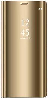 AIsoar Carcasa Compatible/Reemplazo para Huawei Y7 2019 Funda Tapa Libro Flip Clear 360° Protectora Caso Modelo Fecha Espejo Translúcido Slim PC Duro Anti-Scratch Teléfono Cubierta (Dorado)