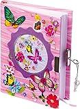 """8072 Diario """"Farfalle"""", diario dei segreti per bambini con lucchetto, chiave, segnalibro e carta rosa"""