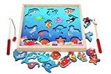 TOWO Wooden Fishing Game-Magnetic Fishing Puzzles with Numbers Jigsaw Puzzle- Sea Creatures Kids Fishing Game Educational Toys for 3 Years Old Math Toy Montessori Materials