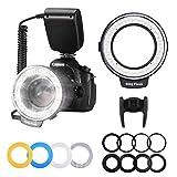 リングフラッシュPloture カメラ/一眼レンズカメラ用 接写専用ストロボ LED 48球マクロリングライト/マクロリングフラッシュ Canon、Nikonに対応ストロボ LCDディスプレ
