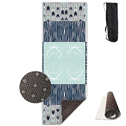 Yoga Mat Eco-Friendly Anti Slip Yoga Mat Cute Patchwork Deer Yoga Towel Carrying Strap & Bag Non-Toxic Printedfor Exercise,Yoga and Pilates 71 X 24 Inch