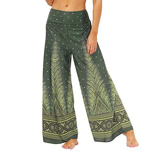 Mujeres Pantalones Anchos Pantalon de Harén Casual Suelto Pierna Ancha Caderapie Pantalones,Cintura Alta Bohemio Estilo Danza Yoga Pilates Pantalones