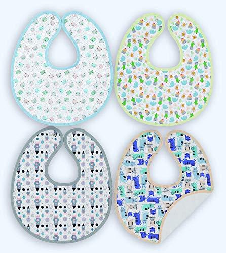 Ti TIN - Pack 4 Baberos Impermeables para Bebé con Exterior y Forro de Algodón  Baberos Transpirables con Cierre con Broches para Bebés