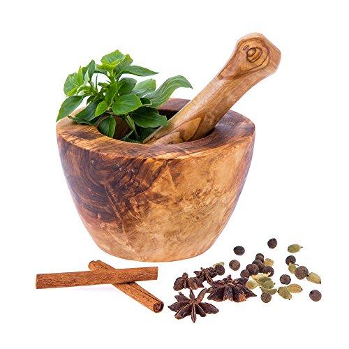 Mortero de madera de olivo, hecho a mano, diámetro: 14 cm