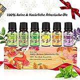 Aromatherapie Ätherische Öle Geschenkset für Diffuser - 100% Pure Aroma Duftöle - Teebaumsöl, Lavendelöl,Pfefferminzöl, Eukalyptusöl, Zitronengrasöl,...