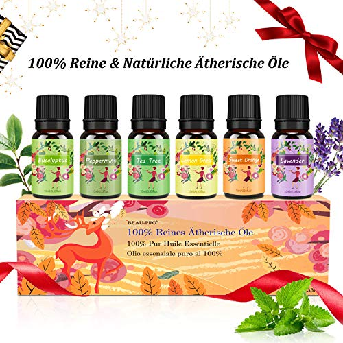 Aromatherapie Ätherische Öle Geschenkset für Diffuser - 100{e6c17ec711eddc924b64ba33c9f89408751d8babba8a95706e2dcc4a6d9f52a7} Pure Aroma Duftöle - Teebaumsöl, Lavendelöl,Pfefferminzöl, Eukalyptusöl, Zitronengrasöl, Süßorangeöl - Therapeutic-Grade Essential Oils