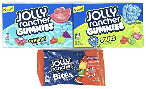 Jolly Rancher Variety Pack - Sour Gummies, Fruit Gummies, Awesome Twosome (1 of each, total of 3)