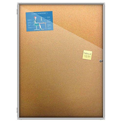 Thornton's Office Supplies Indoor Aluminum Frame Wall Mount Enclosed Cork Bulletin Board with Locking Door (48 x 36) Lockable Noticeboard Display Case