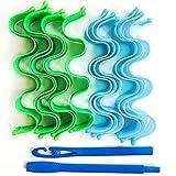 12 riccioli ondulati, nessun danno ai capelli, arricciacapelli manuale-Blu-verde