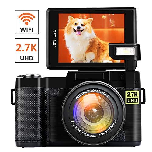 Cámara Digital Cámara Vlogging con WiFi 2.7K Ultra HD 24MP 3.0 Pulgadas Flip Pantalla Youtube cámara retráctil Linterna