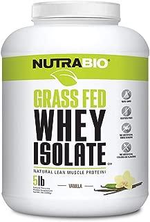NutraBio Grass Fed Whey Isolate (Vanilla, 5 Pounds)