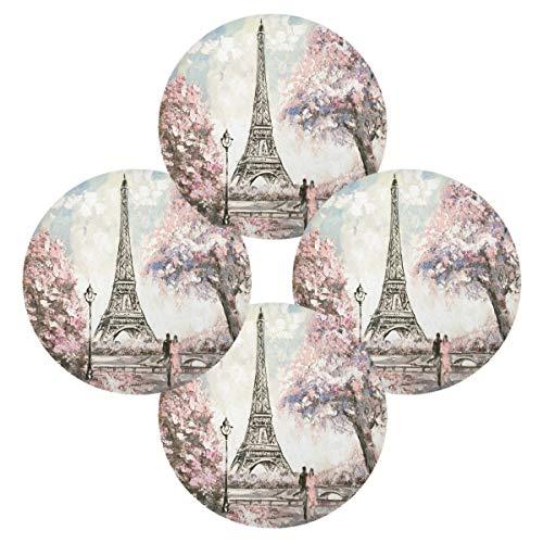 TropicalLife OOWOW Lot de 4 sets de table ronds colorés avec peinture à l'huile Motif Eiffel Antidérapants et lavables
