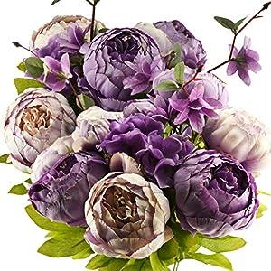 FiveSeasonStuff Vintage Artificial Peonies Silk Peony Flowers and Hydrangeas for Wedding Bridal Home Décor – Beautiful Floral Centerpiece Arrangement Decoration with 2 Bouquets (Mixed Mauve Purple)