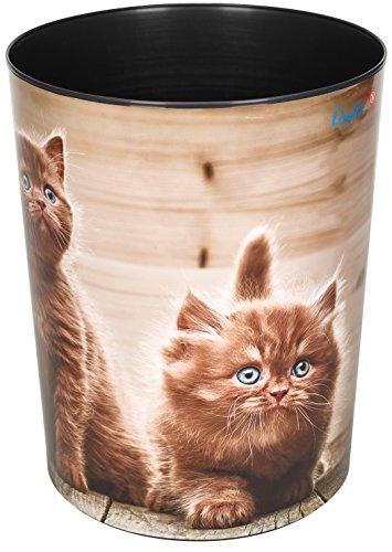 Läufer 26661 Papierkorb Neugierige Kätzchen, 13 Liter Mülleimer, perfekt für das Kinderzimmer, rund, stabiler Kunststoff, verschiedene Motive