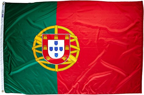 Annin Flagmakers Model 196852 Portugal Flag Nylon SolarGuard NYL-Glo, 4x6 ft, 100% Made in USA to Official United Nations Design Specifications