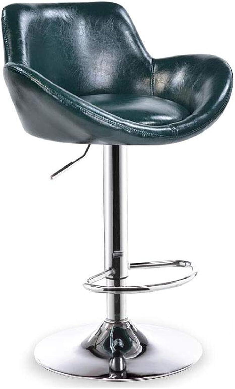 CJC Bar Stool Chair Swivel Barstools Backrest Height Adjustable Footrest (color   Green)