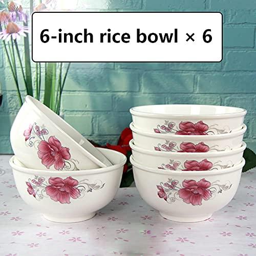 Cuencos de cereales El color sobreglaze no se desvanece los tazones de arroz grandes, los fondos de tazón espesados, los tazones de los huesos de los huesos de la casa, los cuencos de sopa sin plomo,