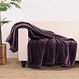 Berkshire Blanket EcoThread Throw | VelvetLoft Heavyweight Throw | Eco-Friendly Plush Throw Blanket | Vineyard Plum | Throw (55' x 70')