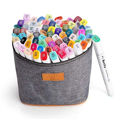 Arrtx マーカーペン 80色 セット 画材 太細両端 アートマーカー カラーペン コミック用 マンガ メモ 塗り絵 落書き イラストペン キャリングケース付