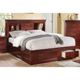 Acme Louis Philippe III Queen Bed with Storage, Cherry