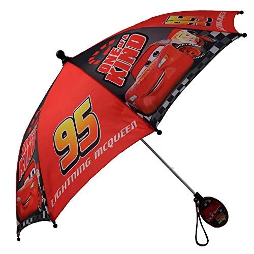Disney Kids Umbrella, Lightning or Mickey Mouse Toddler and Little Boy Rain Wear, Red, Age 3-6