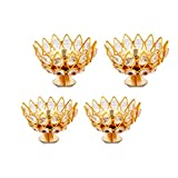 Brass Gallery Brass Small Bowl Crystal Diya Round Shape Kamal Deep Akhand Jyoti Oil Lamp for Home Temple Puja Decor Gifts (Width 3 inch heigh 2.5 inch) Pack of 4 pcs