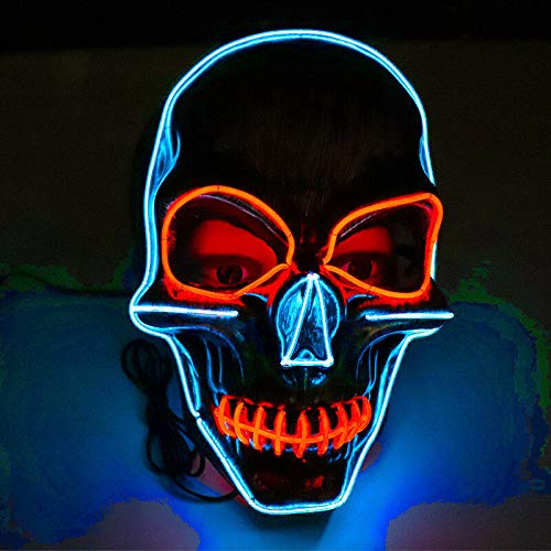 Be-Creative Halloween Party Geluid Voice Control LED Oplichtend Gezichtsmasker (MULTI COLOR)