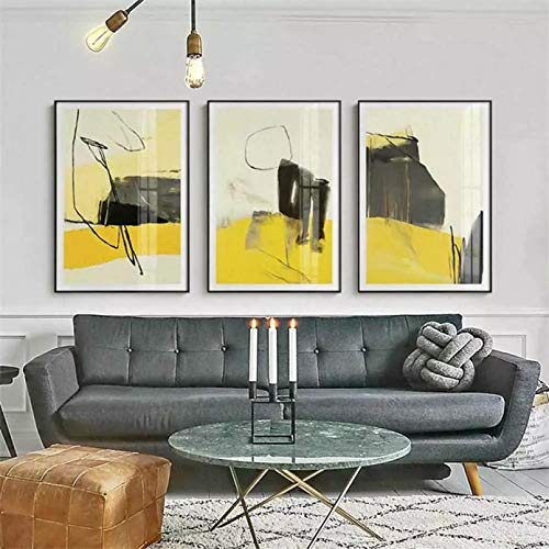 Triptych 3D printing canvas painting Modern Minimalist Geometric Color Block Canvas Painting Abstract Mosaic Pattern Poster Living Entrance Picture Home decoration gifts-40x60cm