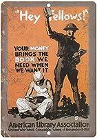アメリカ図書館協会戦争ヴィンテージティンサイン装飾ヴィンテージ壁金属プラークカフェバー映画ギフト結婚式誕生日警告のためのレトロな鉄の絵