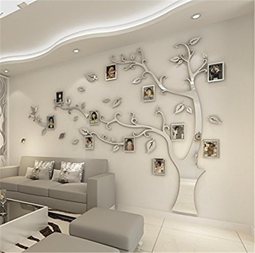 DIY 3D Huge Menory Tree Wall Stickers Crystal Acrylic Photo Frame Tree Wall Decals Wall Murals Home Decorations Arts (L, Silver, Right to Left)