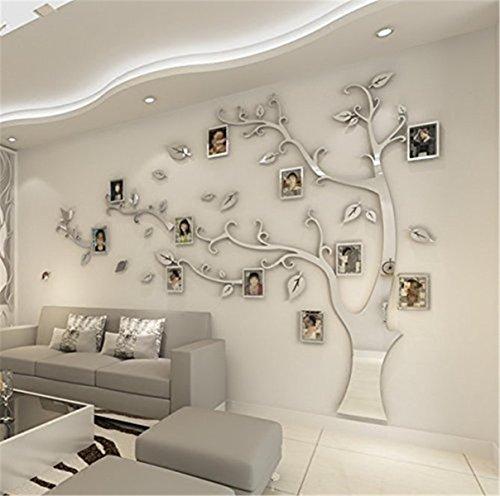 DIY 3D Riesiger Bilderrahmen Baum Wandtattoos Fotorahmen Baum Wandaufkleber Kristall Acryl Malen Wanddeko Wandkunst (Silber, Links, L)