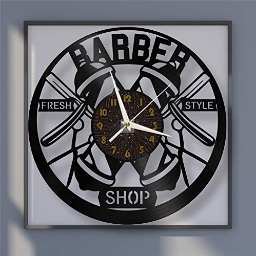 Fresh Style Barber Reloj de Pared de Vinilo de 12 Pulgadas, Reloj de Pared de Vinilo para Cocina, hogar, Sala de Estar, Dormitorio, Escuela (C), sin LED, Regalo de fantasía, Reloj de Vinilo, Regalo