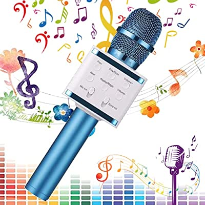 SaponinTree Wireless Bluetooth Karaoke Microphone, 3-in-1 Portable Handheld karaoke Speaker Mic Machine, Birthday Gift Home Party Speaker Machine for iPhone/Android/iPad/Sony/PC (Blue)