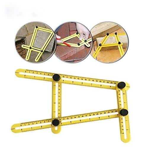 Amenitee Angle Layout Measuring Ruler- Ultimate Irregular Shape Copy Tool-Universal Angularizer Ruler - Easy Angle Ruler-Multi Angle Measuring Tool-ABS Bolts and Nuts-Ultimate Template Tool(Yellow)
