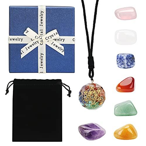 Piedras chakras Juego de cristal de curativa con caja de regalo y bolsa de tela, precioso cristal de amatista para curación de chakras para terapia, curación de chakras, meditación