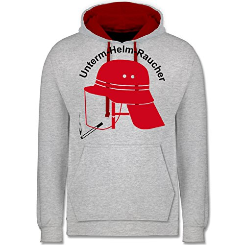 Shirtracer Feuerwehr - Unterm-Helm-Rauch - M - Grau meliert/Rot - Feuerwehr+Pullover - JH003 - Hoodie zweifarbig und Kapuzenpullover für Herren und Damen