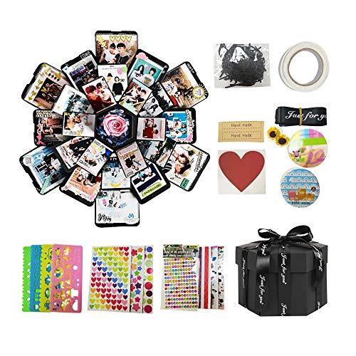 Nideen Explosionsbox, kreative DIY handgefertigte Überraschung Explosion Geschenkbox Liebe Erinnerung, Geburtstagsgeschenk, Hochzeit oder Valentinstag Überraschungsbox Schwarz