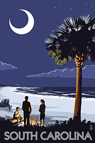 South Carolina - Palmetto Moon (9x12 Art Print, Wall Decor Travel Poster)