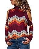 YOINS Haut Pull Femmes Chemise T-Shirt Manches Longues Chemisier Coton à Col Roulé Épaules Dénudées Sweat,Rouge Foncé,EU 40-42(Taille Fabricant: M)