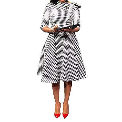 VERWIN Three Quarters Sleeve Knee-Length Pullover Plaid Women's Retro Dress Midi Dress L White