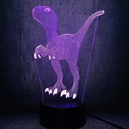 Luz de la noche Bellamente exquisita luz de noche 3D colorida luz de noche led dinosaurio regalo de fan figura de película velociraptor decoración colorida