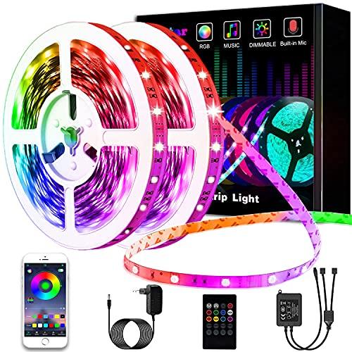 Led Strip, L8star 15m Led Streifen Farbwechsel Led Lichterkette Clever Rgb Led Bänder Stripes mit Bluetooth und fern Kontroller Sync zur Musik Led Leiste, Lichterkette bunt