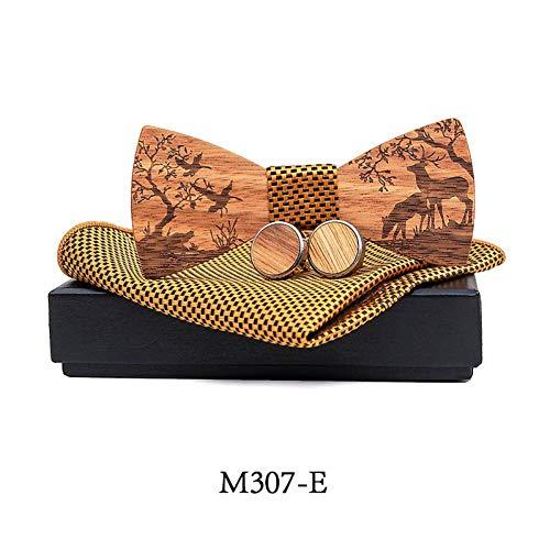 ZHENZHIA Bow Tie Houten strik pak Kerst eland zak vierkante sjaal manchet gift box mannelijke