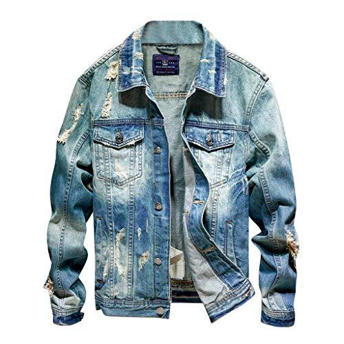 Nyuiuo Denim Übergangsjacke Herbstjacke Bomberjacke Steppjacke Herren Langarm Loch Revers Tasche Mode Denim Jacke Retro Top Trucker Jacke...