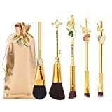 Attack on Titan Makeup Brushes Set,WeChip 5PCS Professional Metal Handle Brush Set Anime Peripheral Christmas Gift for Women and Girls(Gold)