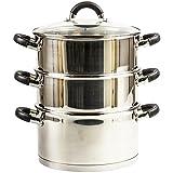 Royal Cuisine Cuiseur vapeur à 3étages en acier inoxydable avec couvercle en verre 20cm